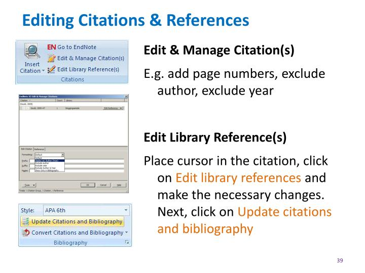 Editing Citations & References