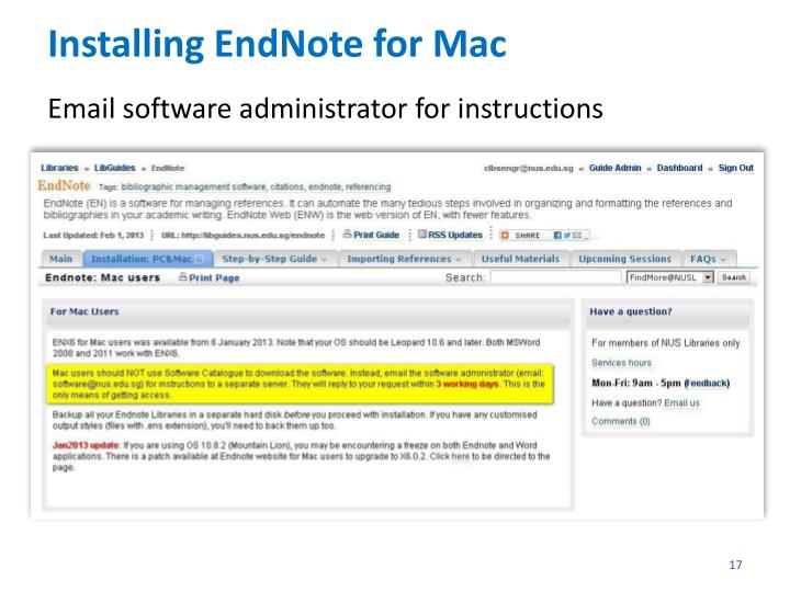 Installing EndNote for Mac