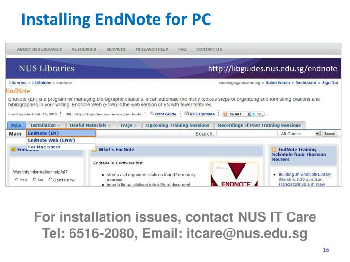 Installing EndNote for PC