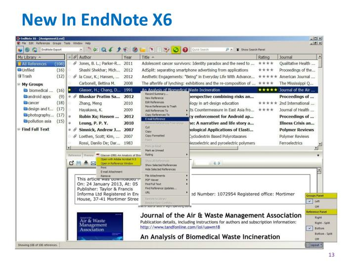New In EndNote X6