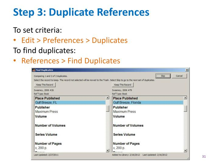 Step 3: Duplicate References