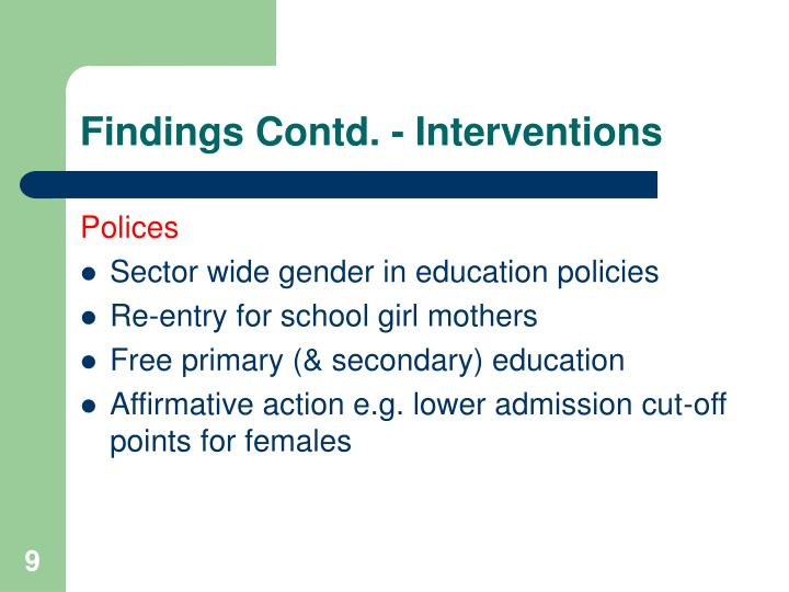 Findings Contd. - Interventions