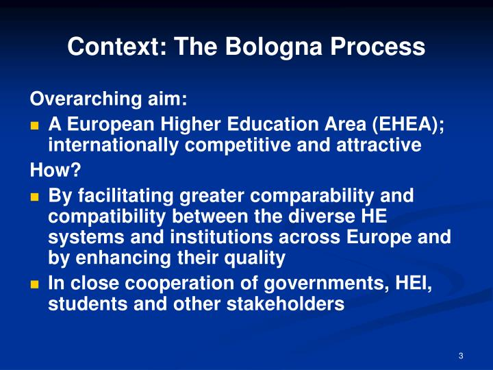 Context the bologna process