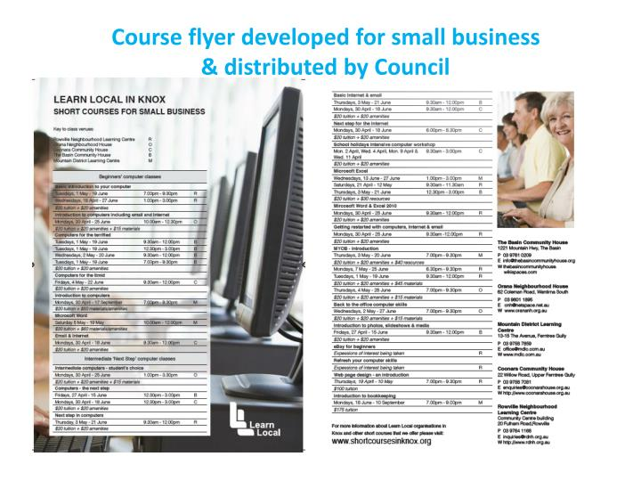 Course flyer developed for small business