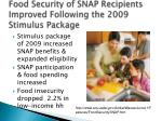 food security of snap recipients improved following the 2009 stimulus package