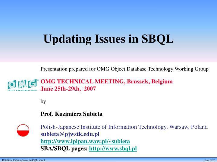 updating issues in sbql n.