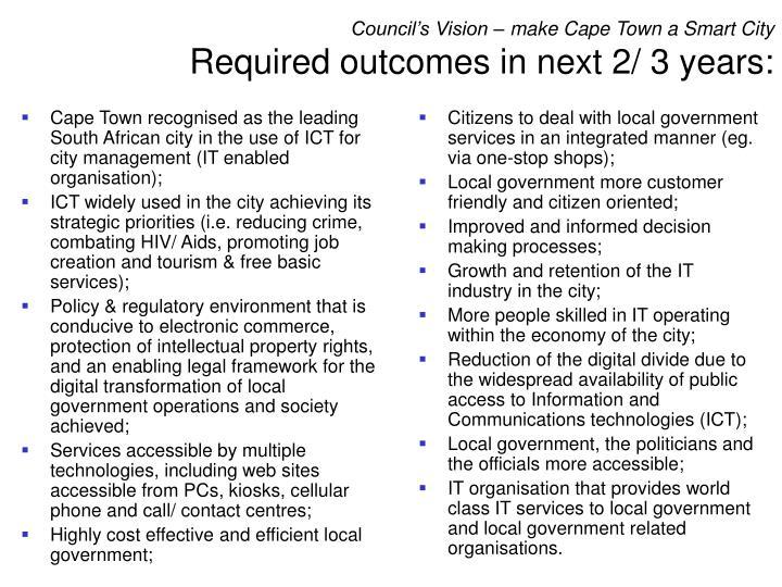 Council's Vision – make Cape Town a Smart City