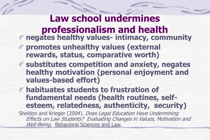 Law school undermines professionalism and health