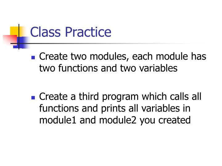 Class Practice