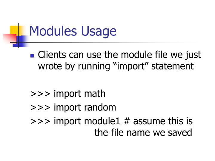 Modules Usage