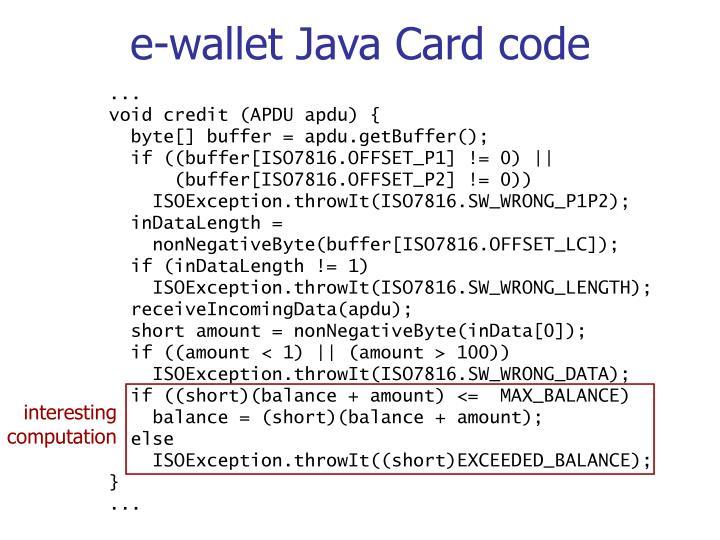 e-wallet Java Card code