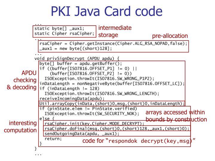 PKI Java Card code