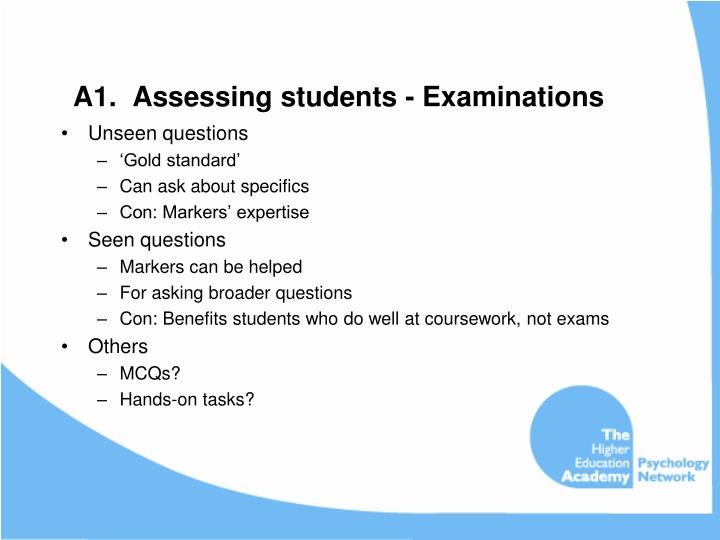 A1.  Assessing students - Examinations