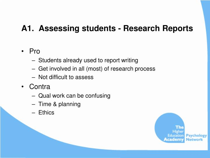 A1.  Assessing students - Research Reports