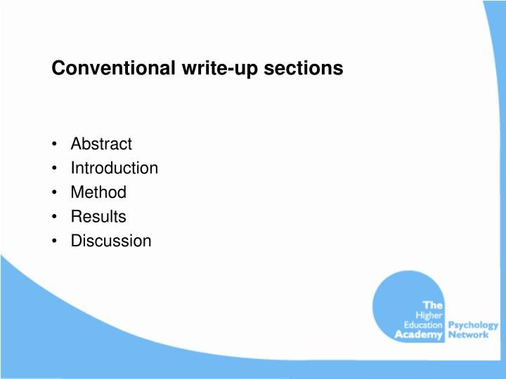 Conventional write-up sections