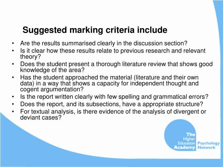Suggested marking criteria include