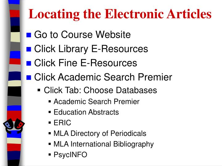 Locating the electronic articles