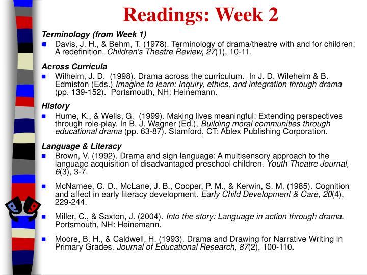 Readings: Week 2