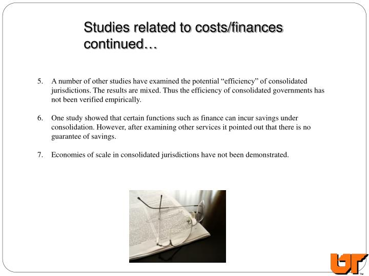 Studies related to costs/finances