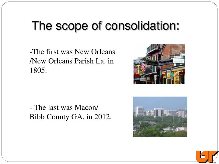 The scope of consolidation: