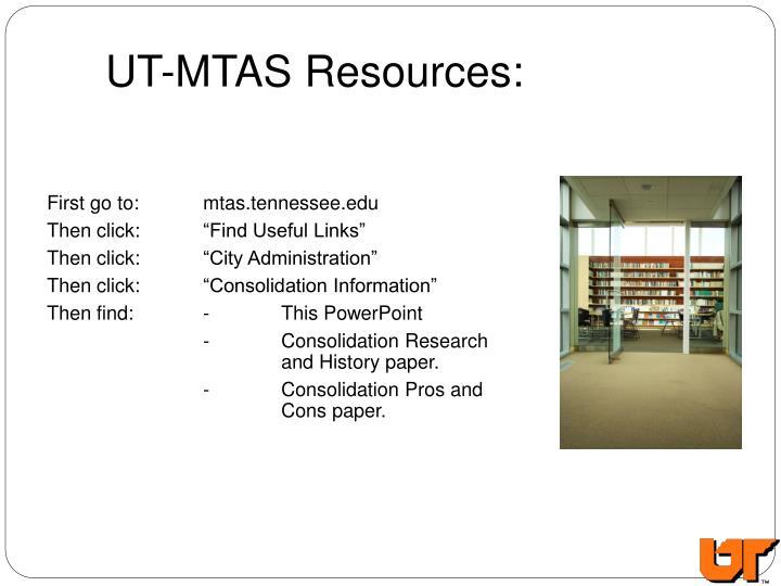 UT-MTAS Resources: