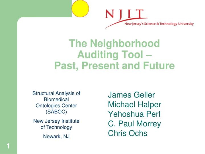 the neighborhood auditing tool past present and future n.