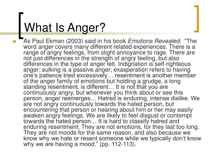 What Is Anger?