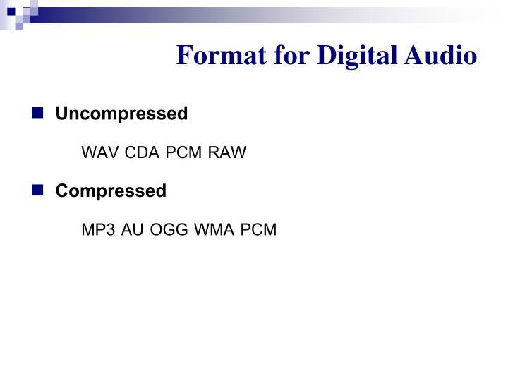 Format for Digital Audio