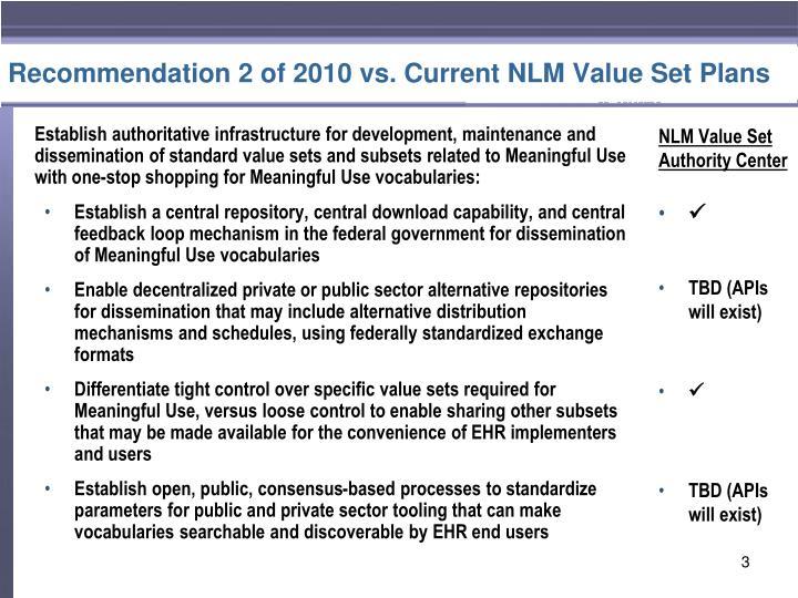 Recommendation 2 of 2010 vs current nlm value set plans