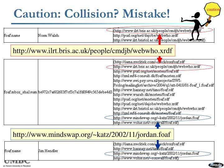 Caution: Collision? Mistake!