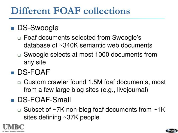 Different FOAF collections