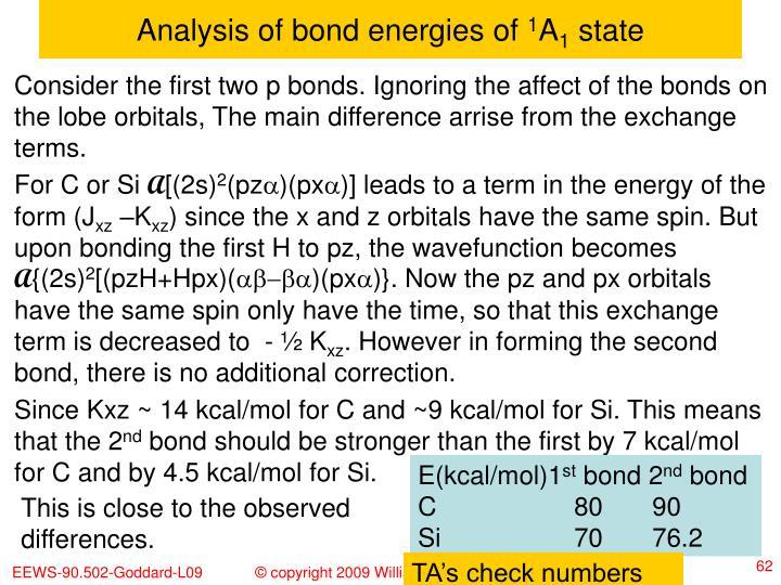 Analysis of bond energies of