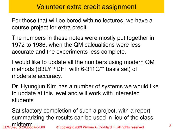 Volunteer extra credit assignment