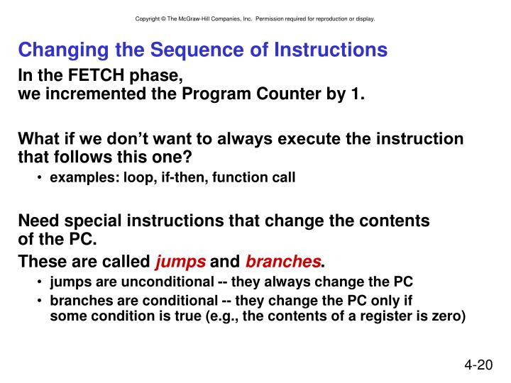 Changing the Sequence of Instructions