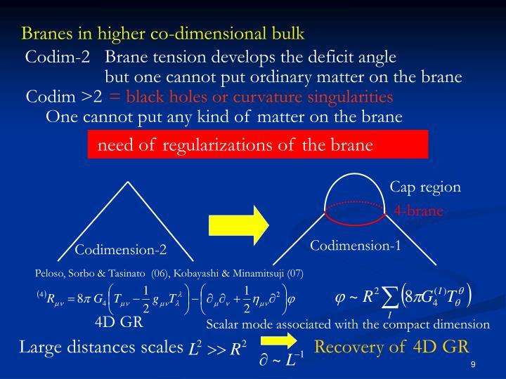 Branes in higher co-dimensional bulk