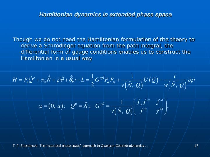 Hamiltonian dynamics in extended phase space