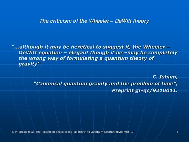 The criticism of the wheeler dewitt theory