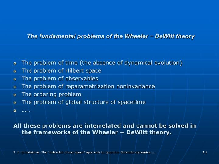 The fundamental problems of the Wheeler − DeWitt theory