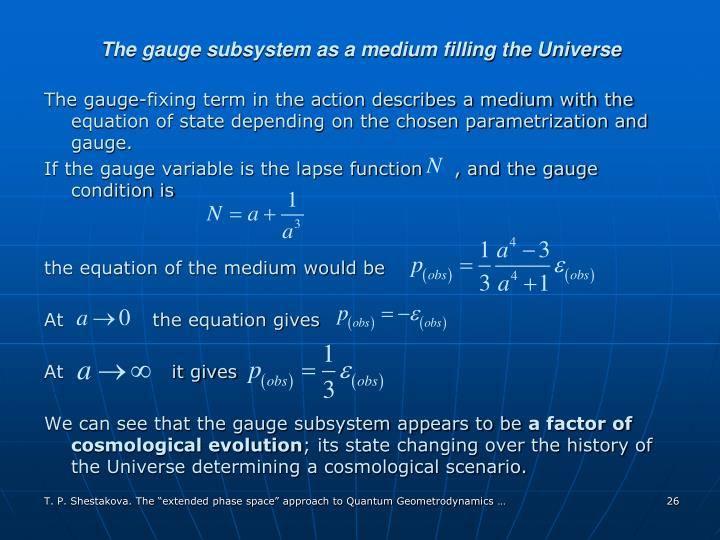 The gauge subsystem as a medium filling the Universe