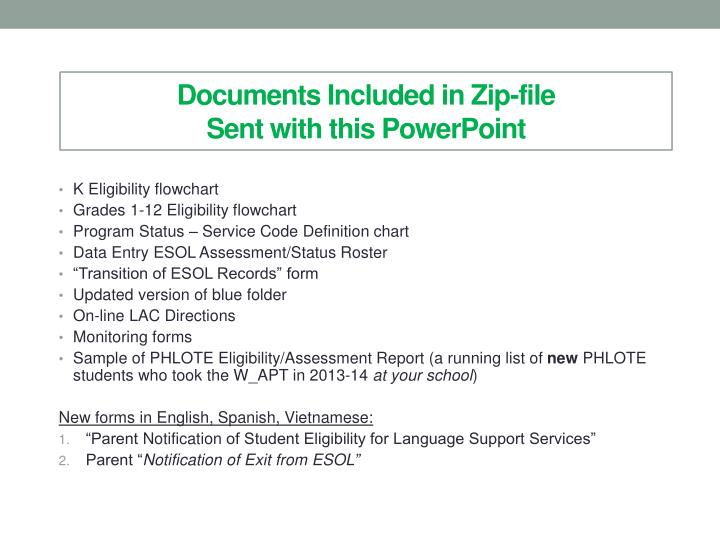 Documents Included in Zip-file