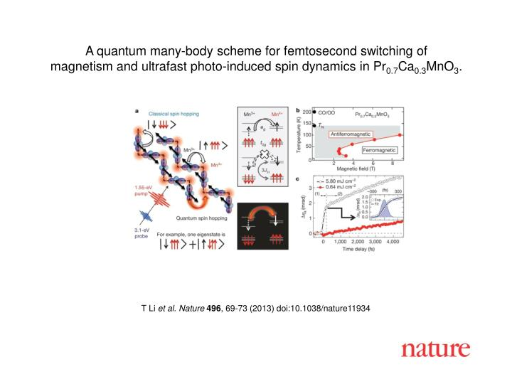A quantum many-body scheme for femtosecond switching of