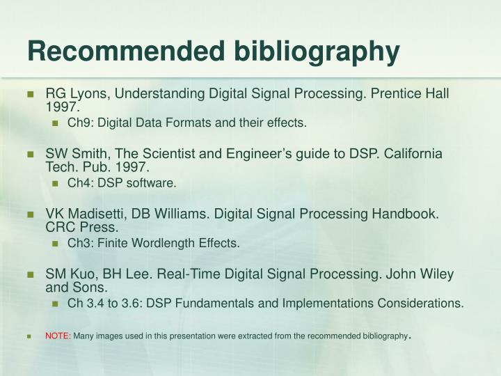 Recommended bibliography