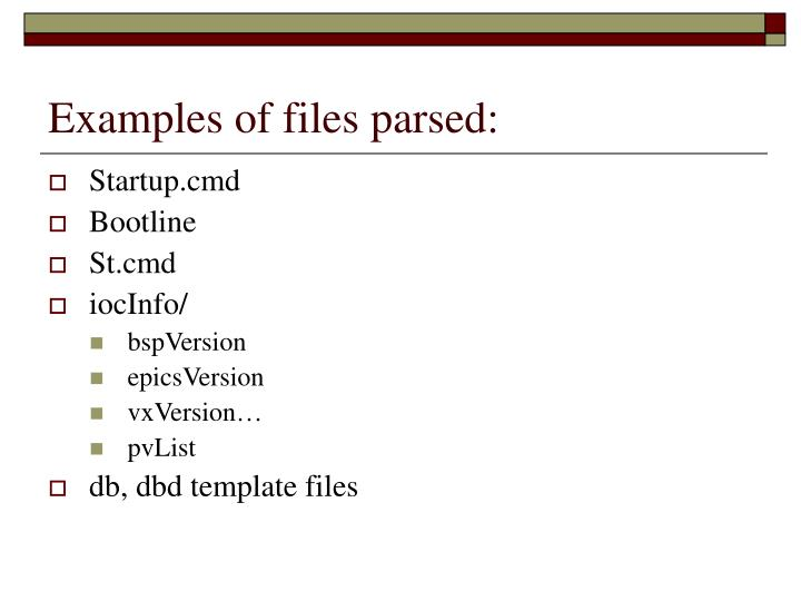 Examples of files parsed: