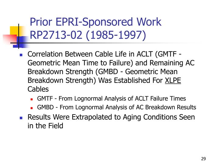 Prior EPRI-Sponsored Work