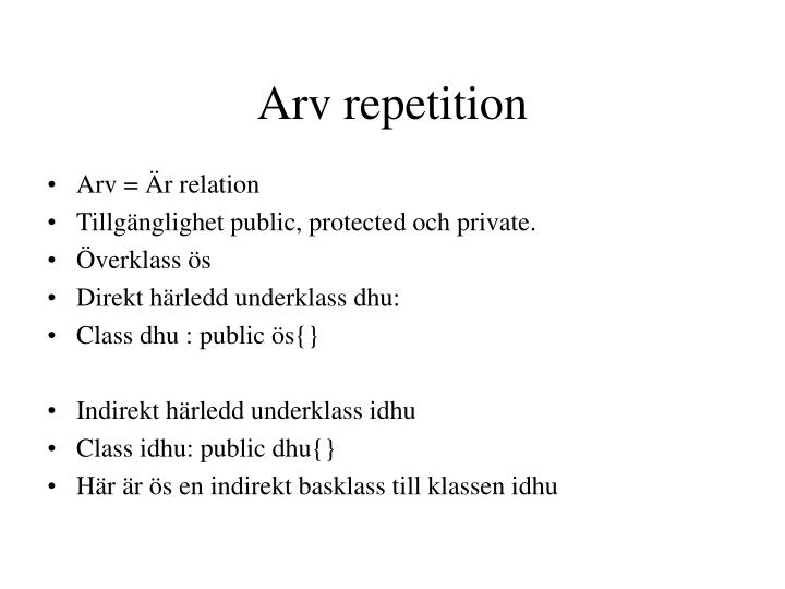 arv repetition n.