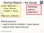 saving objects the issues1