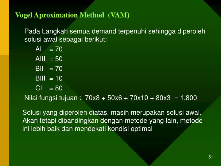 Vogel Aproximation Method  (VAM)