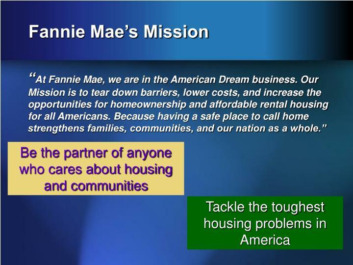 Fannie mae s mission