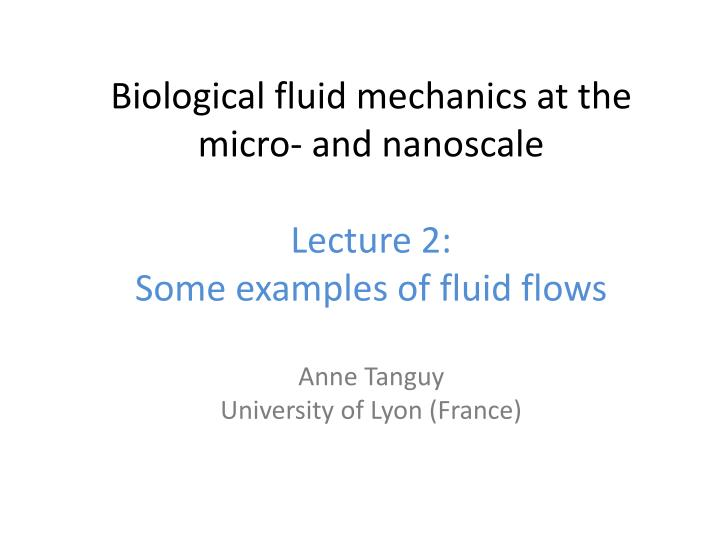 PPT - Biological fluid mechanics at the micro‐ and nanoscale