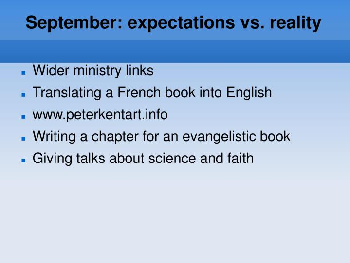 September: expectations vs. reality